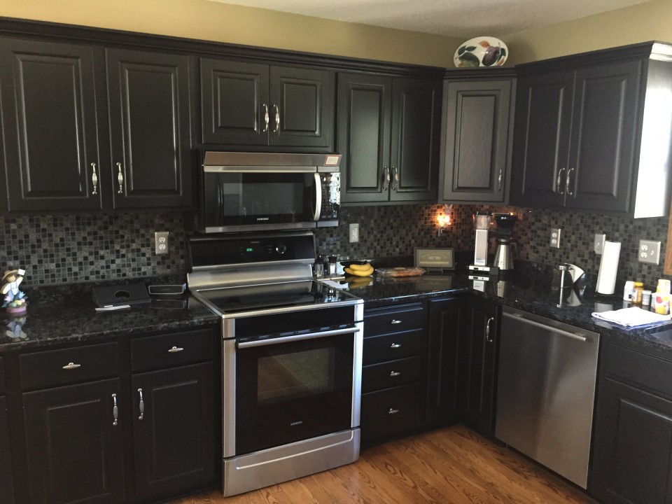 Cabinet Refinishing How About Black Looks Awesome Located In Woodbury Mn Lake Area Painting Decorating St Paul Mn