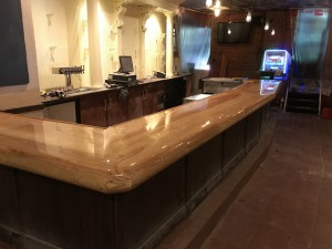 New refinished bar top at the Caribbean Smokehouse in Stillwater, MN